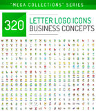 Reusachtige megainzameling van van het bedrijfs brievenembleem pictogrammen royalty-vrije illustratie