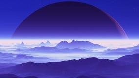 Reusachtige Planeet over Vreemd Terrein stock video