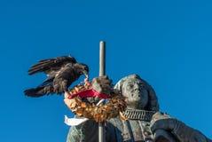 Reusachtige raaf het plukken bloemen van een kroon, Nuuk, Groenland royalty-vrije stock afbeelding