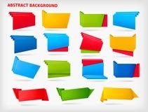 Reusachtige reeks kleurrijke origamidocument banners Stock Fotografie