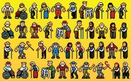 Reusachtige reeks oude mensenavatars - de lagen vectorillustratie van de pixelkunst Stock Foto's