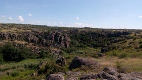 Reusachtige rotsen van Aktovo-canion Royalty-vrije Stock Foto