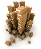 Reusachtige stapels van kartondozen Stock Foto