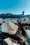 Reusachtige stenen op het strand stock foto