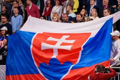 Reusachtige vlag van Slowakije bij tribune royalty-vrije stock foto's
