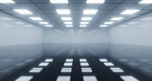 Reusachtige Zwart-witte Lege Zaal met Vierkante Lichten op Plafond royalty-vrije illustratie