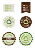 Reusar recicl reduz selos orgânicos Imagem de Stock
