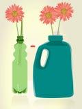 Reuse. D plastic bottles as vases for flowers Stock Photo