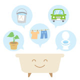 Reuse bath water. There are useful ideas to reuse bath water, flush toilet, watering plants, car wash, cleaning, and laundry Stock Photo