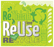 Think Green concept. Vector image: reuse, rethink, recycle Stock Photography