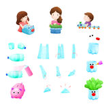 Reuse. Mom son and daugther reuse plastic illustration Royalty Free Stock Image