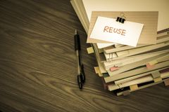 Reuse; The Pile of Business Documents on the Desk Royalty Free Stock Photos