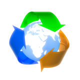 Reuse, Recycle, Reduce !. Reuse, Recycle, Reduce logo with earth in the center. Concept image  isolated on white  background Royalty Free Stock Image