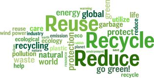 Reuse, Reduce, Recycle. Environmental  wordcloud background Stock Photo