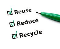 Reuse, Reduce and Recycle. With green pen Stock Image