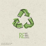 Reuse, reduce, recycle poster design. Include reuse symbol image, seamless reuse paper texture in swatch palette and stencil alphabet. Vector, EPS10 royalty free illustration