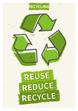 Reuse reduce recycle vector illustration. Creative graphic design with recycle sign royalty free illustration