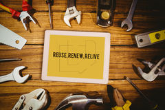 Reuse, renew, relive against blueprint Stock Photo