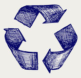 Reuse symbol. Doodle style. Vector Stock Photography