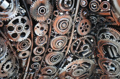 Reusing waste industrial mechanical gears Royalty Free Stock Photos