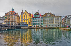 Reuss embankment in the old part of Lucerne Stock Photos