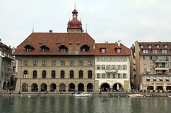 Reuss river and Old Town, Lucerne, Switzerland. Royalty Free Stock Image