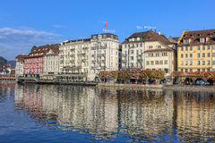 Reuss river and the St. Karliquai quay in Lucerne Royalty Free Stock Photography