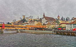 Reuss riverbank in old town of Lucerne Stock Photography