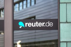 Reuters.de sign in dusseldorf germany. Dusseldorf, North Rhine-Westphalia/germany - 12 10 18: reuters.de sign in dusseldorf germany stock photo