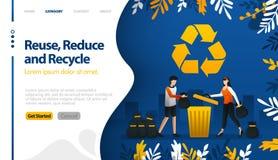 Reutilice, reduzca y recicle con los ejemplos de los botes de basura y el concepto del ejemplo del vector de las pilas de la basu libre illustration