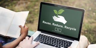 A reutilização reduz-se recicla o conceito da ecologia da sustentabilidade Fotografia de Stock Royalty Free