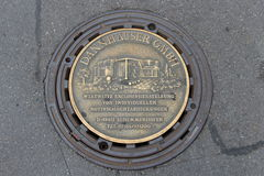 Reutlingen. market place sewer lid Royalty Free Stock Photos