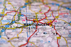 Reutlingen op kaart Stock Afbeeldingen