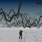 Reuze 3d grafiek met klein sommige mensen Stock Foto's