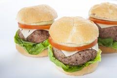 Reuze eigengemaakte geïsoleerde hamburger klassieke Amerikaanse cheeseburger Stock Foto