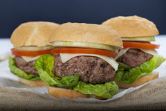Reuze eigengemaakte hamburger klassieke Amerikaanse cheeseburger op zak stock afbeelding
