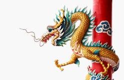 Reuze gouden Chinese draak voor jaar 2012 Stock Foto's