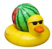 Reuze kleurrijk eendje met een watermeloenvlotter Opblaasbare vlotter royalty-vrije stock afbeelding