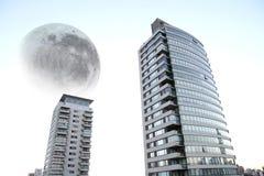 Reuze maan over Buenos aires stock illustratie