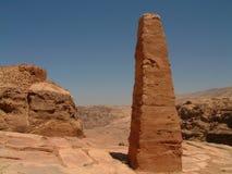 Reuze obelisk, Hoge Plaats van Offer, Petra, Jordanië Stock Foto