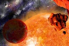 reuze ster met planeet en vallen-steen Stock Afbeeldingen