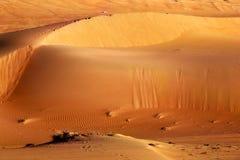 Reuze zandduinen in woestijn De textuurpatroon van het rimpelingszand stock foto