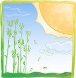 Reuze zon op de zomer Royalty-vrije Stock Foto