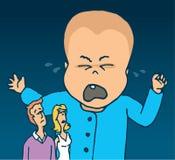 Reuzebaby die en betreffende ouders schreeuwen Stock Fotografie