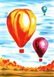 Reuzeballons in de lucht tegen het blauwe landschap van de hemelherfst Hand-drawn acrylkunstillustratie stock illustratie