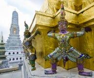 Reuzebeschermer in zwart-wit Emerald Buddha Temple, Stock Fotografie