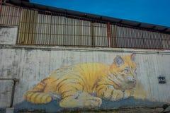 Reuzecat mural, straatkunst in George Town, Maleisië Royalty-vrije Stock Foto's