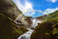 Reuzekjosfossen-waterval in Flam - Noorwegen royalty-vrije stock foto