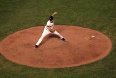 Reuzen Javier Lopez wind-omhoog om hoogte te werpen Stock Foto's