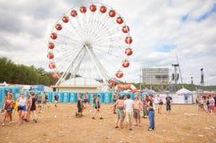 Reuzenrad bij het 23ste Woodstock-Festival Polen Royalty-vrije Stock Foto's